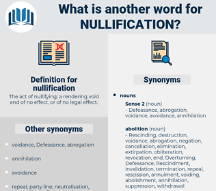 nullification, synonym nullification, another word for nullification, words like nullification, thesaurus nullification