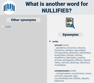nullifies, synonym nullifies, another word for nullifies, words like nullifies, thesaurus nullifies