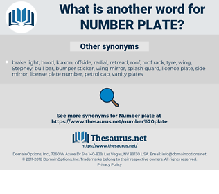 number plate, synonym number plate, another word for number plate, words like number plate, thesaurus number plate