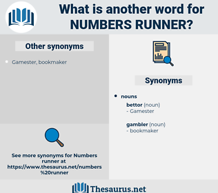 numbers runner, synonym numbers runner, another word for numbers runner, words like numbers runner, thesaurus numbers runner
