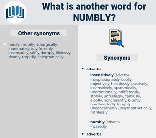 numbly, synonym numbly, another word for numbly, words like numbly, thesaurus numbly