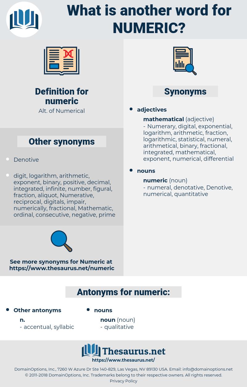 numeric, synonym numeric, another word for numeric, words like numeric, thesaurus numeric