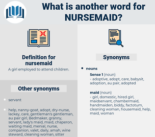 nursemaid, synonym nursemaid, another word for nursemaid, words like nursemaid, thesaurus nursemaid