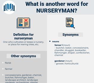 nurseryman, synonym nurseryman, another word for nurseryman, words like nurseryman, thesaurus nurseryman