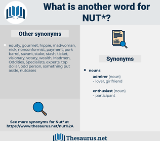 nut, synonym nut, another word for nut, words like nut, thesaurus nut