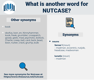 nutcase, synonym nutcase, another word for nutcase, words like nutcase, thesaurus nutcase