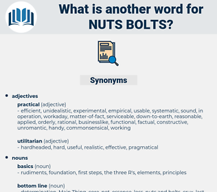 nuts bolts, synonym nuts bolts, another word for nuts bolts, words like nuts bolts, thesaurus nuts bolts