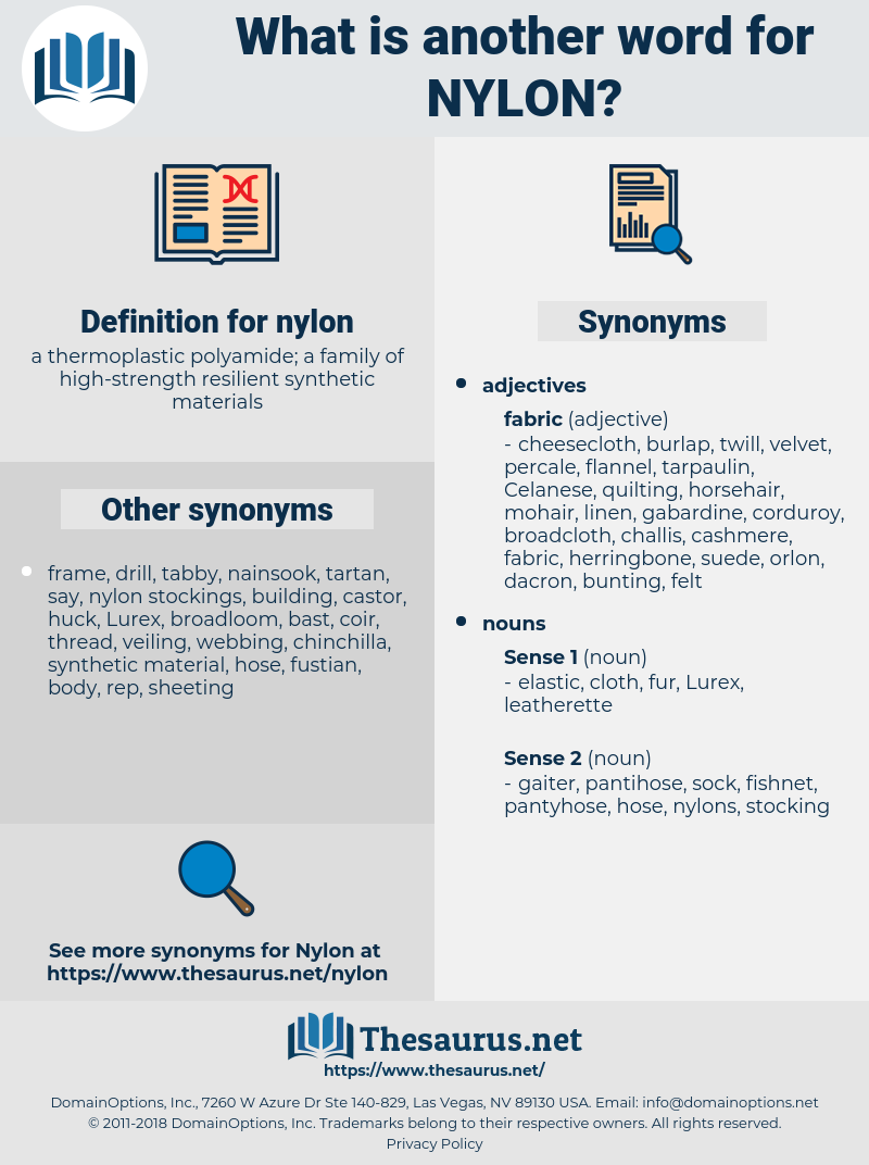 nylon, synonym nylon, another word for nylon, words like nylon, thesaurus nylon