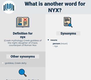 nyx, synonym nyx, another word for nyx, words like nyx, thesaurus nyx
