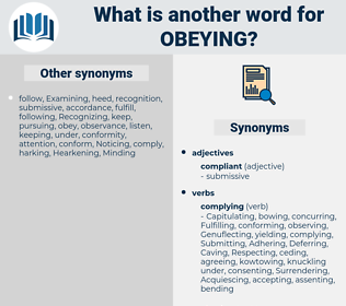 Obeying, synonym Obeying, another word for Obeying, words like Obeying, thesaurus Obeying
