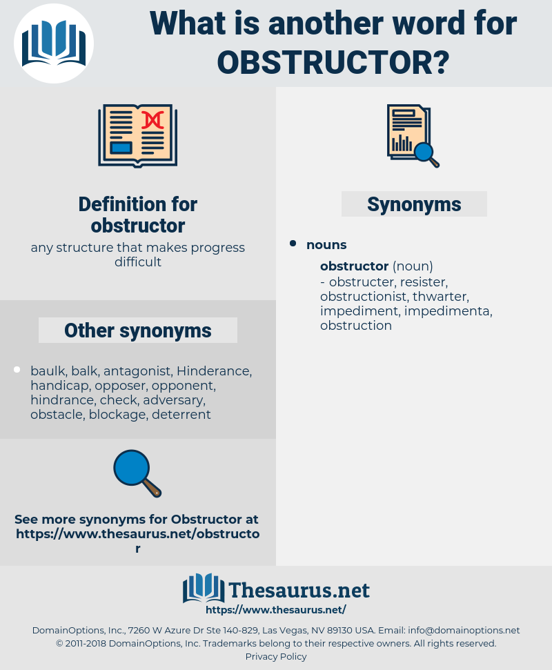 obstructor, synonym obstructor, another word for obstructor, words like obstructor, thesaurus obstructor