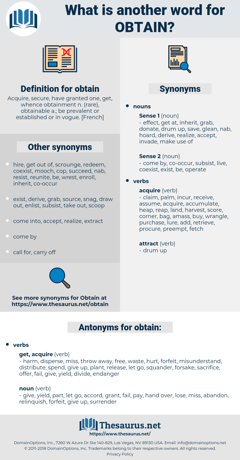 obtain, synonym obtain, another word for obtain, words like obtain, thesaurus obtain