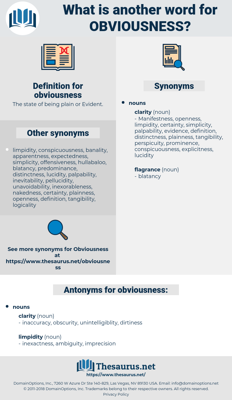 obviousness, synonym obviousness, another word for obviousness, words like obviousness, thesaurus obviousness