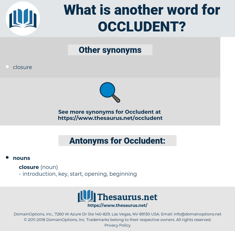 Occludent, synonym Occludent, another word for Occludent, words like Occludent, thesaurus Occludent