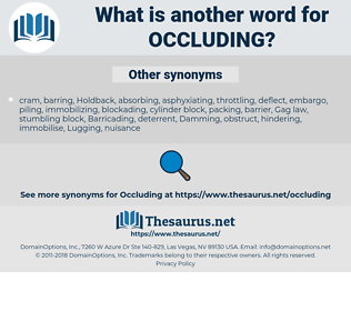 occluding, synonym occluding, another word for occluding, words like occluding, thesaurus occluding