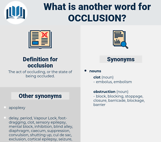 occlusion, synonym occlusion, another word for occlusion, words like occlusion, thesaurus occlusion
