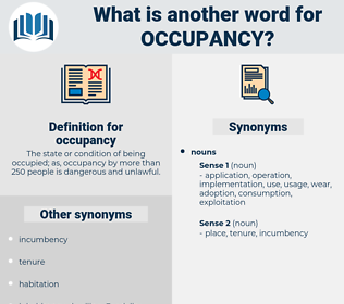 occupancy, synonym occupancy, another word for occupancy, words like occupancy, thesaurus occupancy