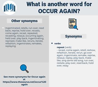 occur again, synonym occur again, another word for occur again, words like occur again, thesaurus occur again