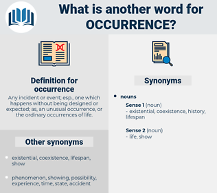 occurrence, synonym occurrence, another word for occurrence, words like occurrence, thesaurus occurrence
