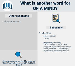 of a mind, synonym of a mind, another word for of a mind, words like of a mind, thesaurus of a mind