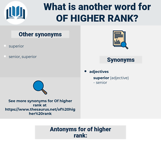 of higher rank, synonym of higher rank, another word for of higher rank, words like of higher rank, thesaurus of higher rank