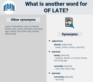 of late, synonym of late, another word for of late, words like of late, thesaurus of late