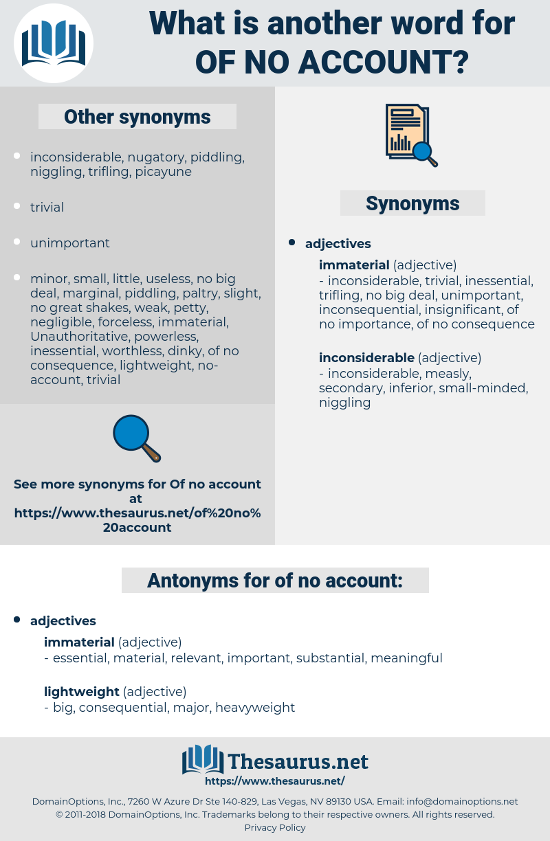 of no account, synonym of no account, another word for of no account, words like of no account, thesaurus of no account