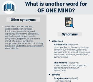 of one mind, synonym of one mind, another word for of one mind, words like of one mind, thesaurus of one mind