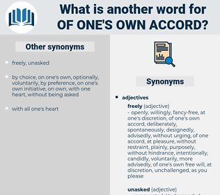 of one's own accord, synonym of one's own accord, another word for of one's own accord, words like of one's own accord, thesaurus of one's own accord