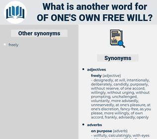 of one's own free will, synonym of one's own free will, another word for of one's own free will, words like of one's own free will, thesaurus of one's own free will