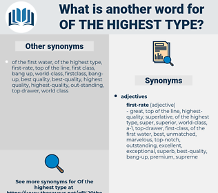 of the highest type, synonym of the highest type, another word for of the highest type, words like of the highest type, thesaurus of the highest type