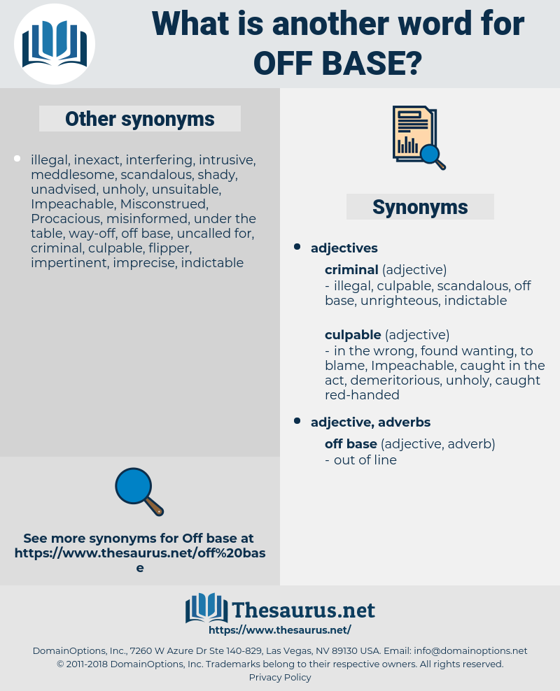 off-base, synonym off-base, another word for off-base, words like off-base, thesaurus off-base