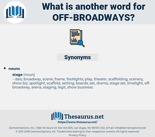 off-broadways, synonym off-broadways, another word for off-broadways, words like off-broadways, thesaurus off-broadways