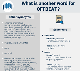 offbeat, synonym offbeat, another word for offbeat, words like offbeat, thesaurus offbeat