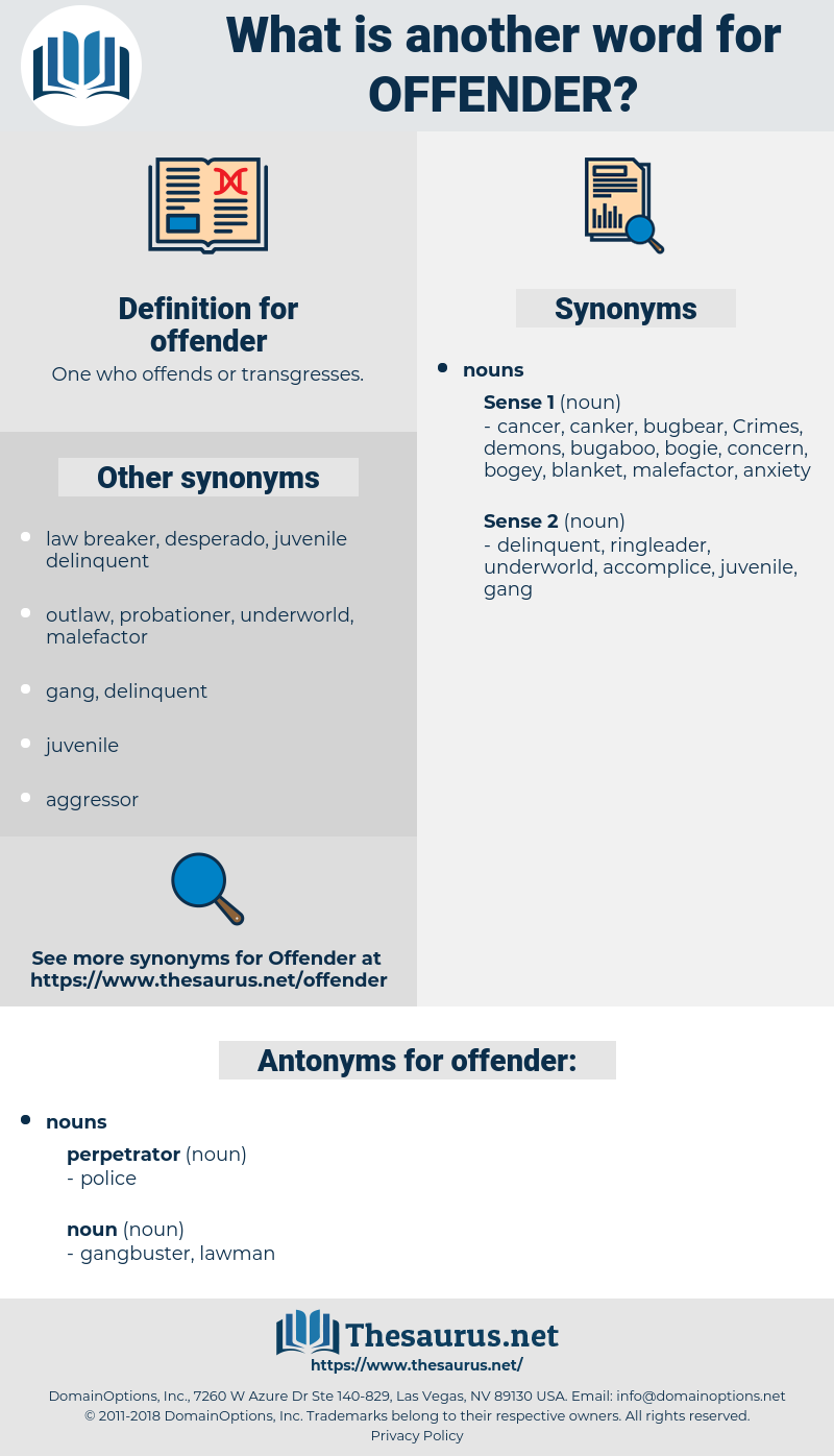 offender, synonym offender, another word for offender, words like offender, thesaurus offender