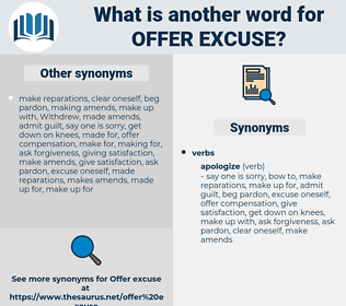 offer excuse, synonym offer excuse, another word for offer excuse, words like offer excuse, thesaurus offer excuse