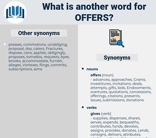 offers, synonym offers, another word for offers, words like offers, thesaurus offers