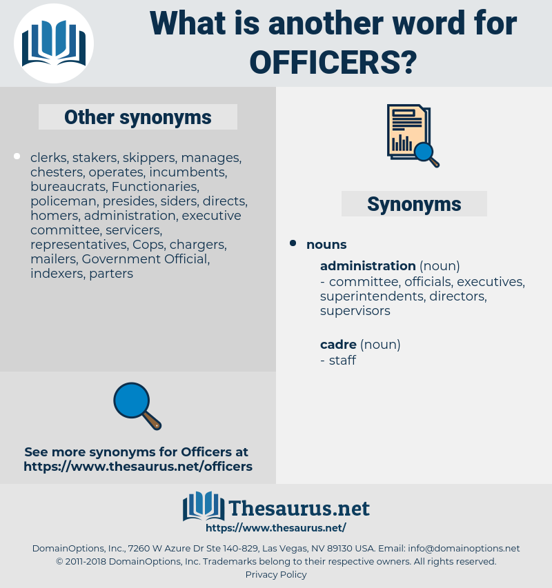 officers, synonym officers, another word for officers, words like officers, thesaurus officers