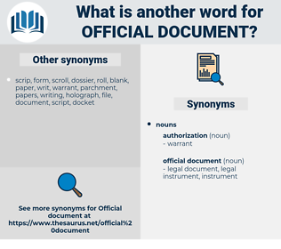official document, synonym official document, another word for official document, words like official document, thesaurus official document