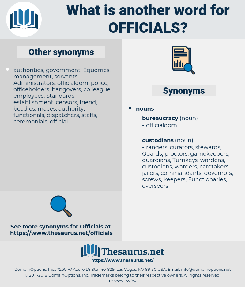 officials, synonym officials, another word for officials, words like officials, thesaurus officials