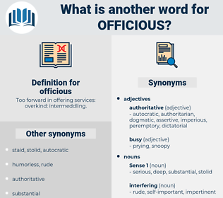 officious, synonym officious, another word for officious, words like officious, thesaurus officious