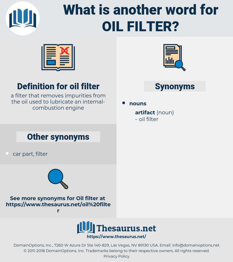 oil filter, synonym oil filter, another word for oil filter, words like oil filter, thesaurus oil filter