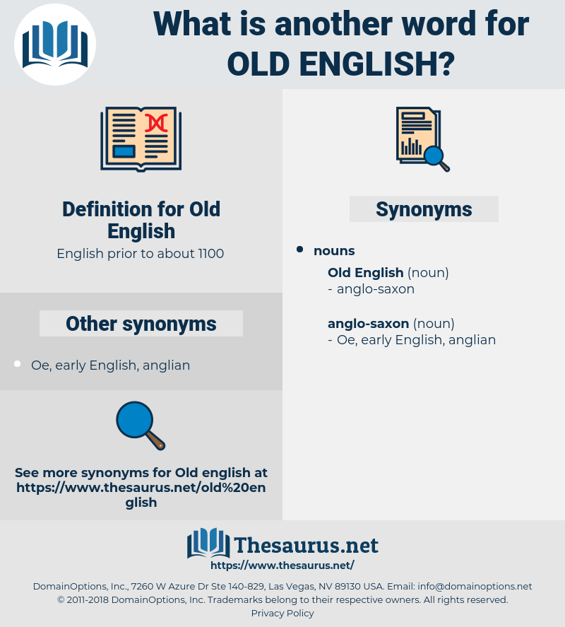 Synonyms for OLD ENGLISH - Thesaurus net