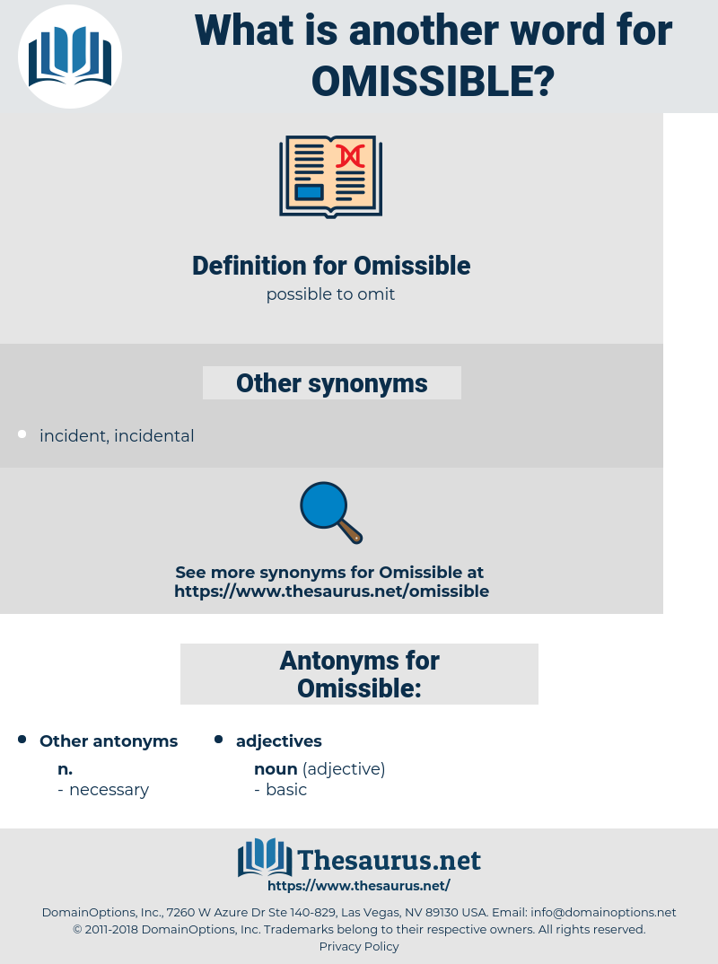 Omissible, synonym Omissible, another word for Omissible, words like Omissible, thesaurus Omissible