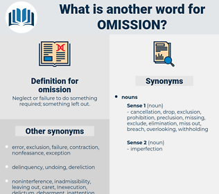 omission, synonym omission, another word for omission, words like omission, thesaurus omission