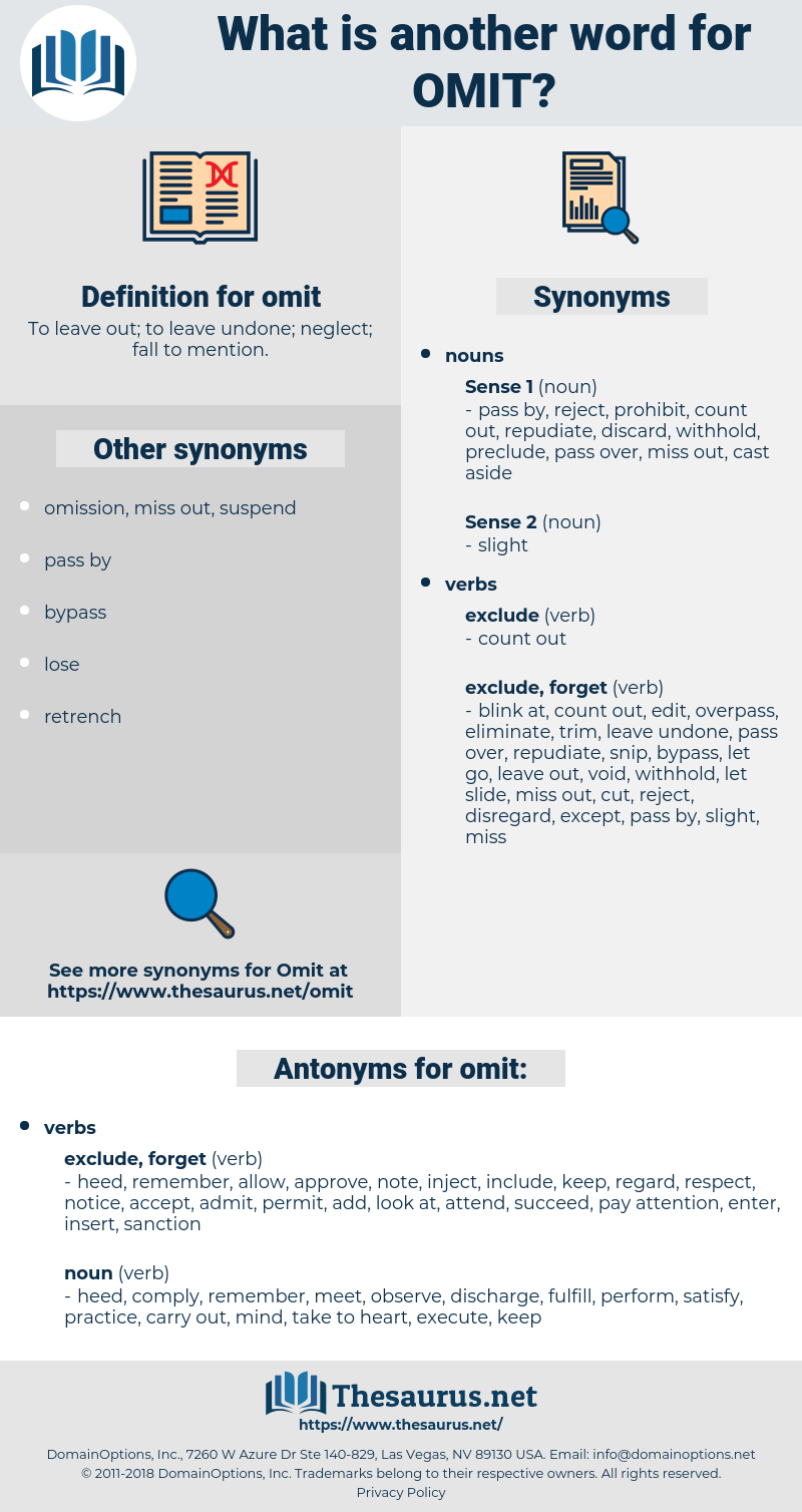 omit, synonym omit, another word for omit, words like omit, thesaurus omit