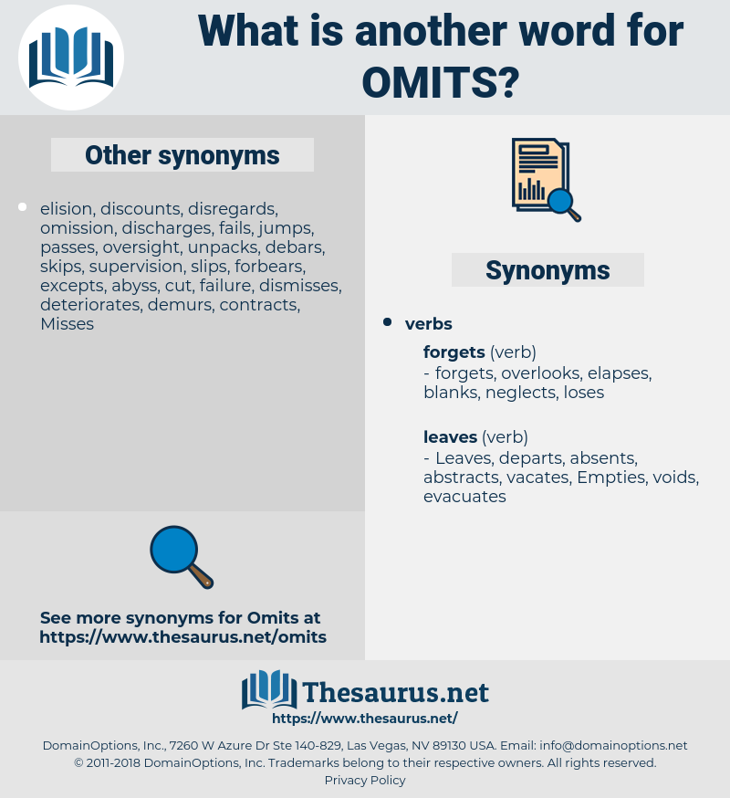 omits, synonym omits, another word for omits, words like omits, thesaurus omits