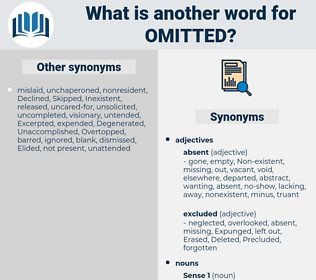 Omitted, synonym Omitted, another word for Omitted, words like Omitted, thesaurus Omitted