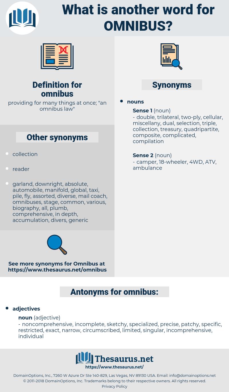 omnibus, synonym omnibus, another word for omnibus, words like omnibus, thesaurus omnibus