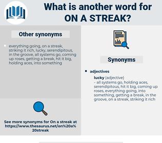 on a streak, synonym on a streak, another word for on a streak, words like on a streak, thesaurus on a streak